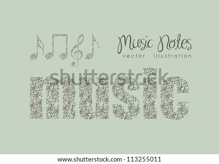 Illustration of musical notes forming a music word, music, sound, vector illustration - stock vector