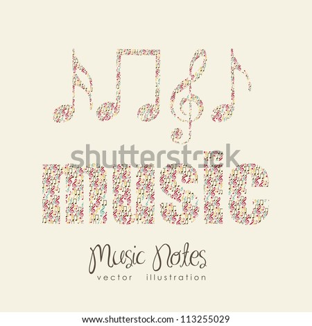 Illustration of musical notes forming a  music word, sound, vector illustration - stock vector