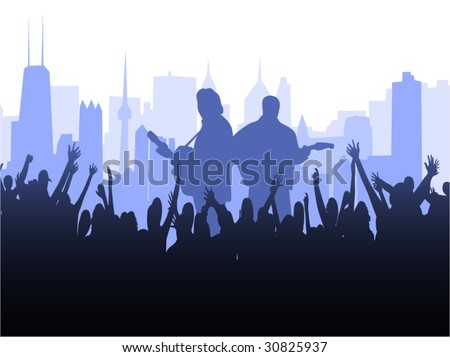 Illustration of musicians playing - stock vector