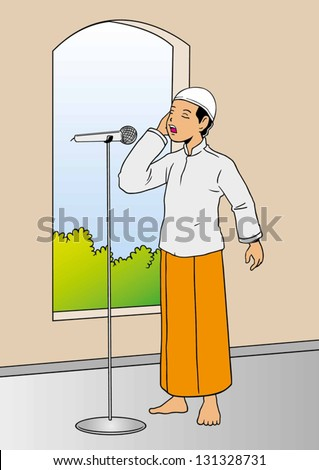 Illustration of muslim man calling for afternoon prayer in mosque - stock vector