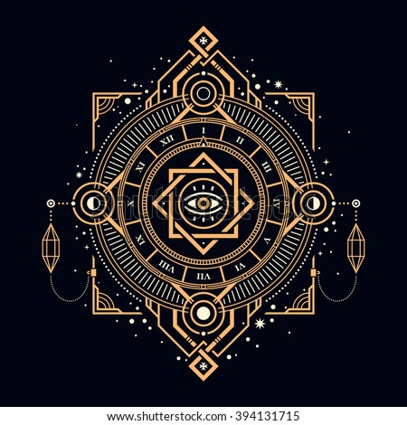 Illustration of mystic golden clock with sacred symbols. - stock vector