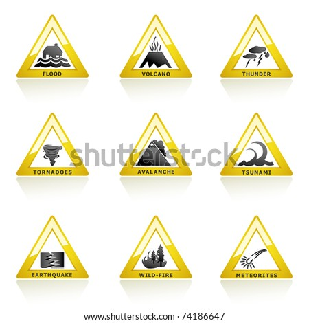 illustration of natural disaster icon on white background - stock vector