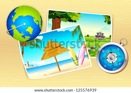 illustration of nature photograph with globe and compass - stock vector