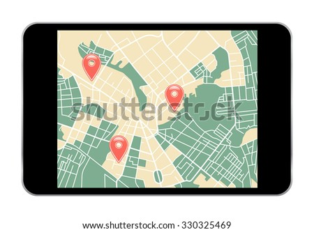 illustration of navigation icon set for GPS application. vector - stock vector