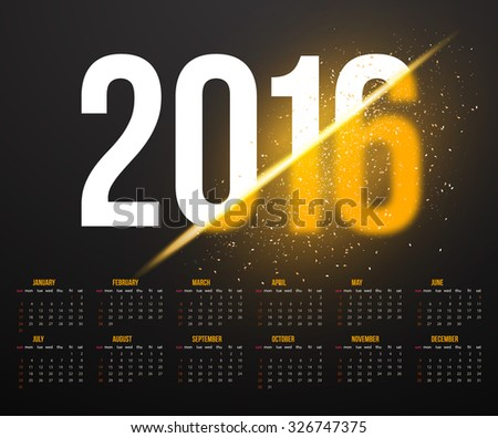 Illustration of New Year 2016 Calendar with Explosion Effect. Happy New Year Vector Background