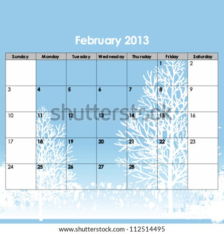 Illustration of new year july 2013 calendar - stock vector