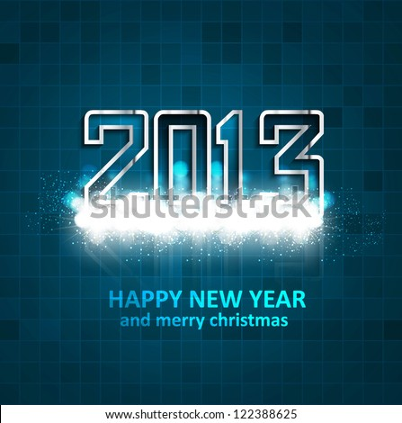 illustration of New Year 2013 mosaic blue colorful background - stock vector