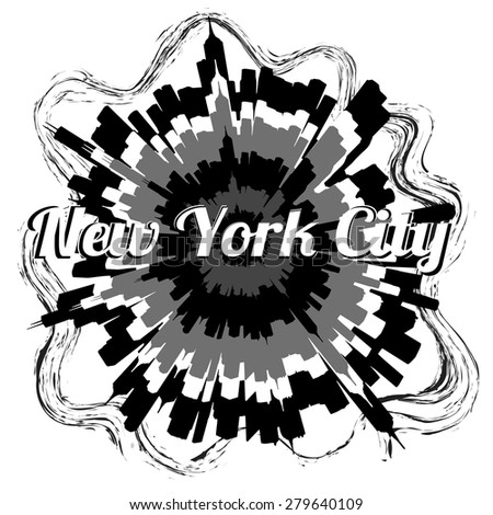 Illustration of New York City in grayscale - stock vector