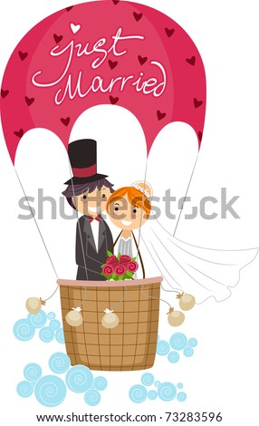 Illustration of Newlyweds in a Hot Air Balloon - stock vector