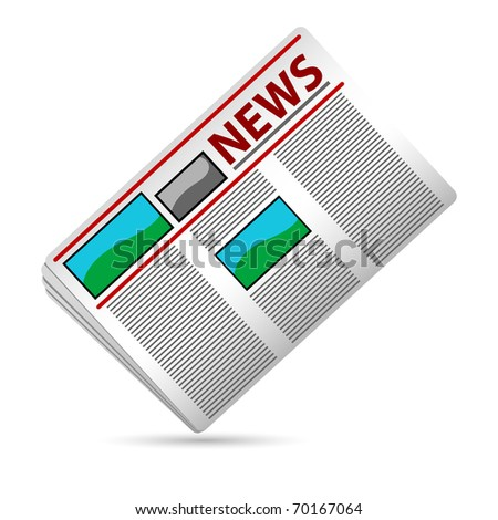 illustration of newspaper on white background - stock vector