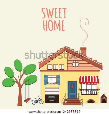 Illustration of nice house. Sweet home. - stock vector