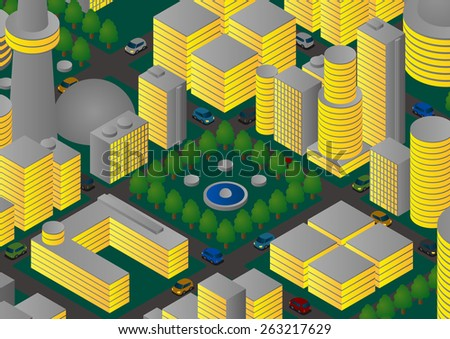 Illustration of night city, park and vehicles - stock vector