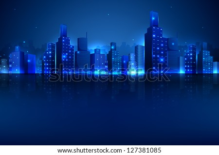illustration of night scene of city with illuminated building - stock vector
