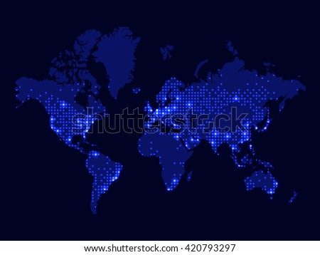 Illustration night world map communications network vectores en illustration of night world map communications network world map dotted world map gumiabroncs Image collections