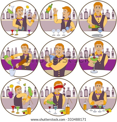 illustration of nine different skillful barman funny stickers - face expressions. - stock vector