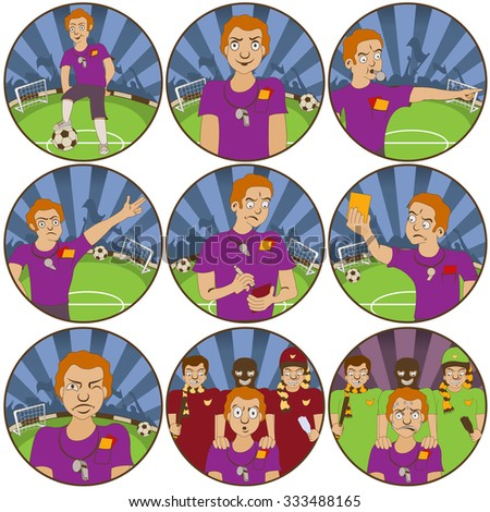 illustration of nine different soccer ball  referee funny stickers - face expressions. - stock vector