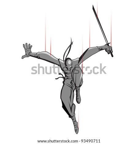 illustration of ninja fighter attacking with sword - stock vector