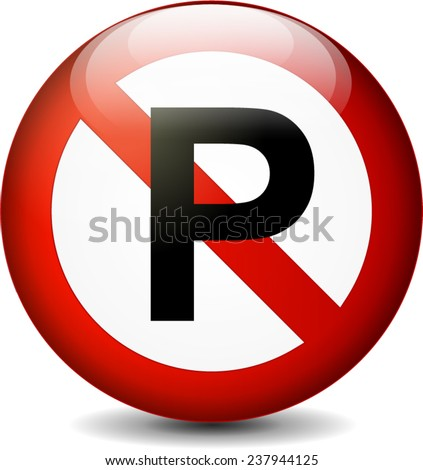 illustration of no parking sign isolated on white background - stock vector