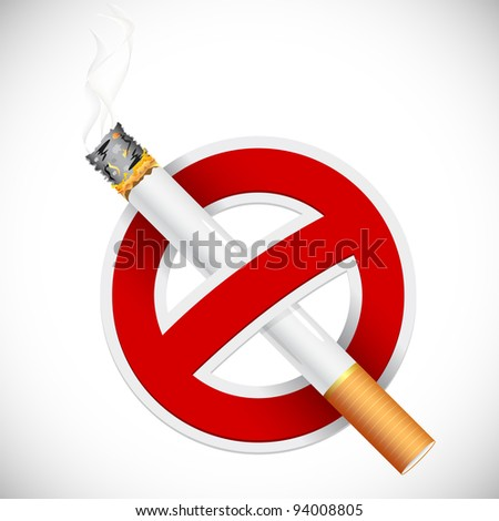 illustration of no smoking sign with cigarette - stock vector