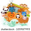 Illustration of Noah's Ark - stock vector