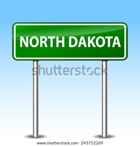 illustration of north dakota green metal road sign - stock vector