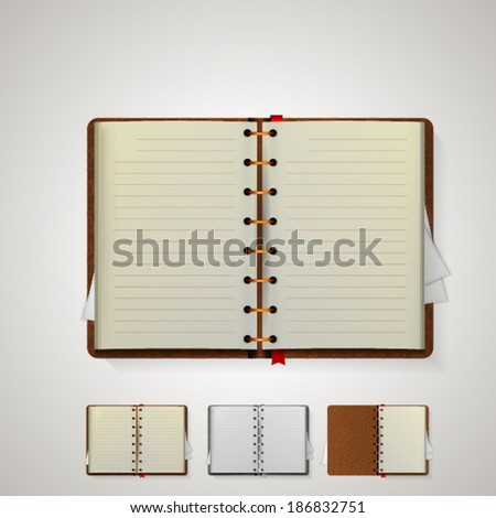 Illustration of notebooks. Open notebooks with bookmarks and brown cover. Isolated illustrations on white. - stock vector