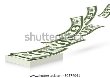 illustration of notes flying from dollar bundle - stock vector