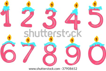 illustration of number candles on white - stock vector