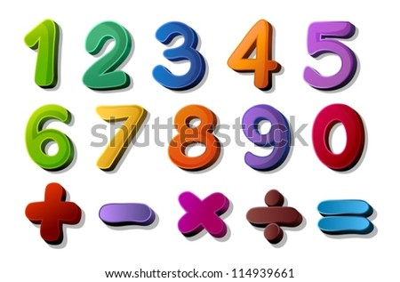 illustration of numbers and maths symbols on white background - stock vector