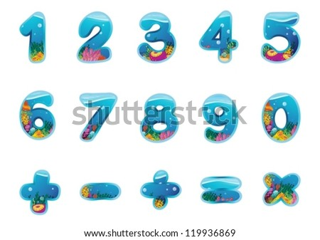 illustration of numbers and signs on a white background