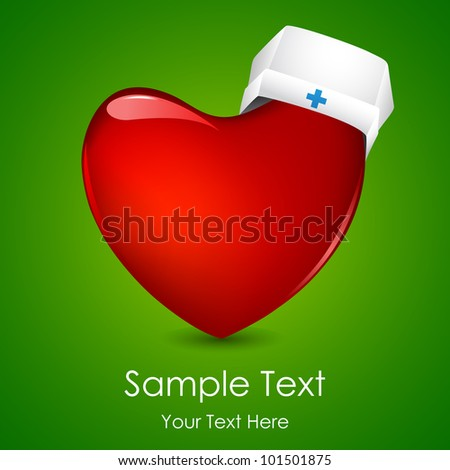 illustration of nurse cap on heart on abstract background - stock vector