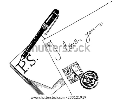 illustration of objects: an envelope with a stamp, post-it paper, a pen, message: P.S. I love you/vector P.S. I love you - mail and pen - black and white/digital vector - stock vector