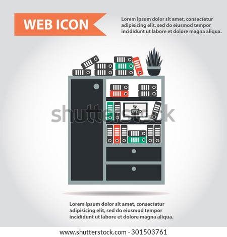 Illustration of office furniture, interior. Case, box with folders, television and plant, web icon, vector.