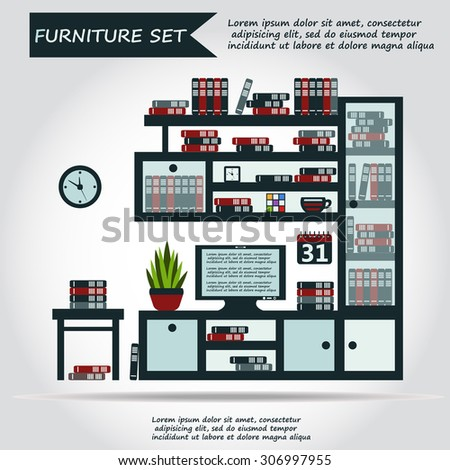 Illustration Of Office Furniture Set, Interior. Case, Box With Books,  Television And
