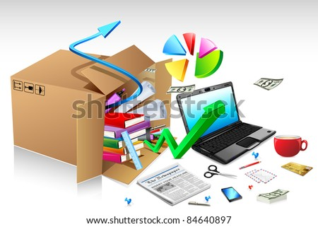 illustration of office stationery with notebook and pie chart splashing from carton - stock vector