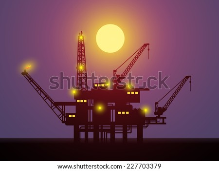 Illustration of oil platform on sea and Oil Pump at night Full Moon , vector - stock vector