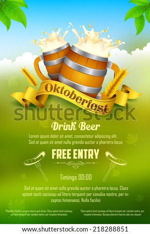 illustration of Oktoberfest celebration background - stock vector