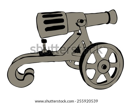 Illustration of Old Cannon Over The White Background - stock vector