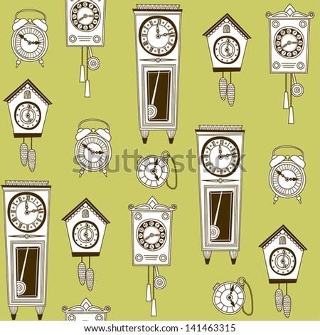 Illustration of old clocks - stock vector
