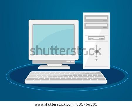 Illustration of Old Desktop Computer - stock vector