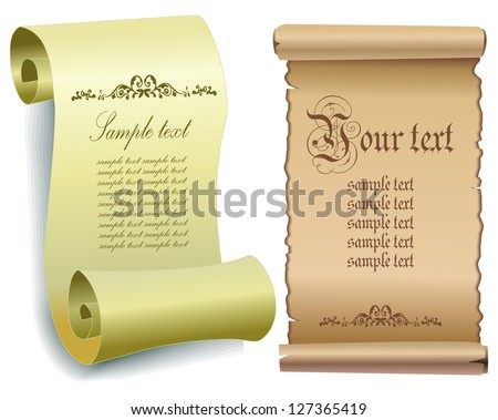 Illustration of old paper scrolls . Vector eps 10. - stock vector