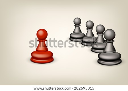 illustration of one red pawn oposite few black pawns - stock vector