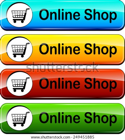 illustration of online shop web buttons design set - stock vector