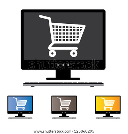 Illustration of online shopping using Desktop/PC/Computer with the concept graphic showing computer screen with cart icon in black and white. Also included are 3 colorful versions of the graphic - stock vector