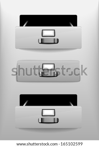 illustration of open and closed white drawers, eps 10 - stock vector