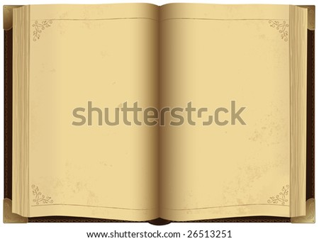 Illustration of open antique book, vector - stock vector
