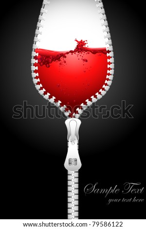 illustration of opening zipper in shape of wine glass filled with splashing wine - stock vector