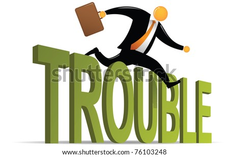 Illustration of orange head jumping over trouble - stock vector