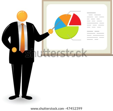 Illustration of orange head man doing pie chart presentation - stock vector