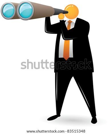 Illustration of Orange Head Man Using Binocular - stock vector